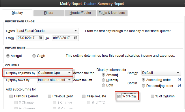 Profitability by Type of Customer in QuickBooks Firm of the Future – Type of Business Report